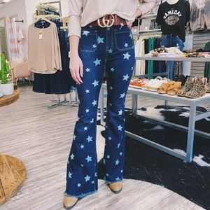 🆕 Dark Wash Star Print Flare Jeans
